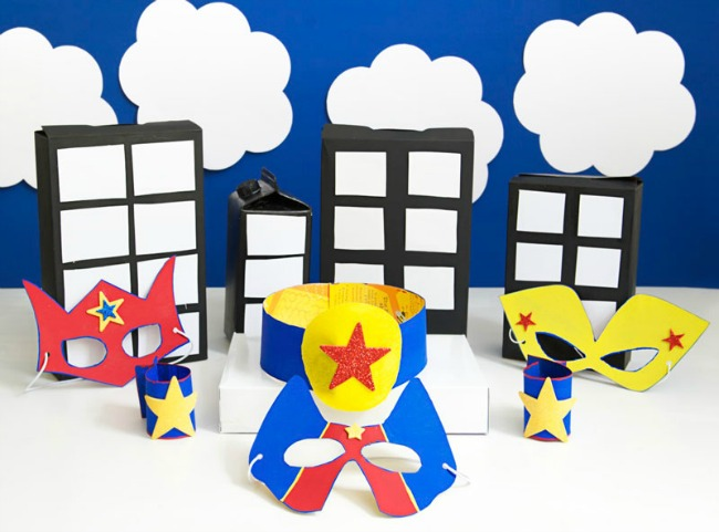 superhero party cereal boxes