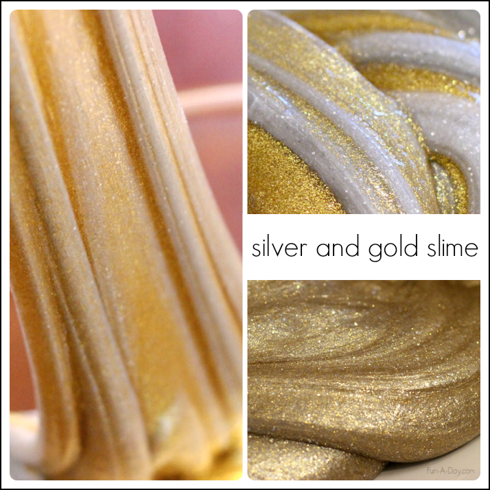 gold and silver homemade slime