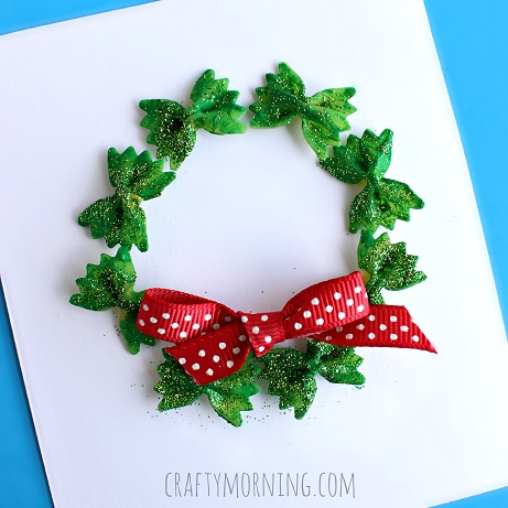 bow tie noodle wreath craft