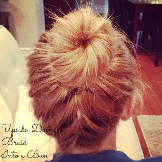 upside down braid bun