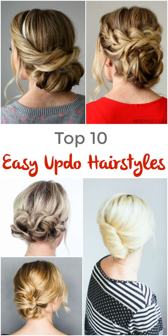 Pleasant Top 10 Easy Updo Hairstyles Pinned And Repinned Hairstyle Inspiration Daily Dogsangcom