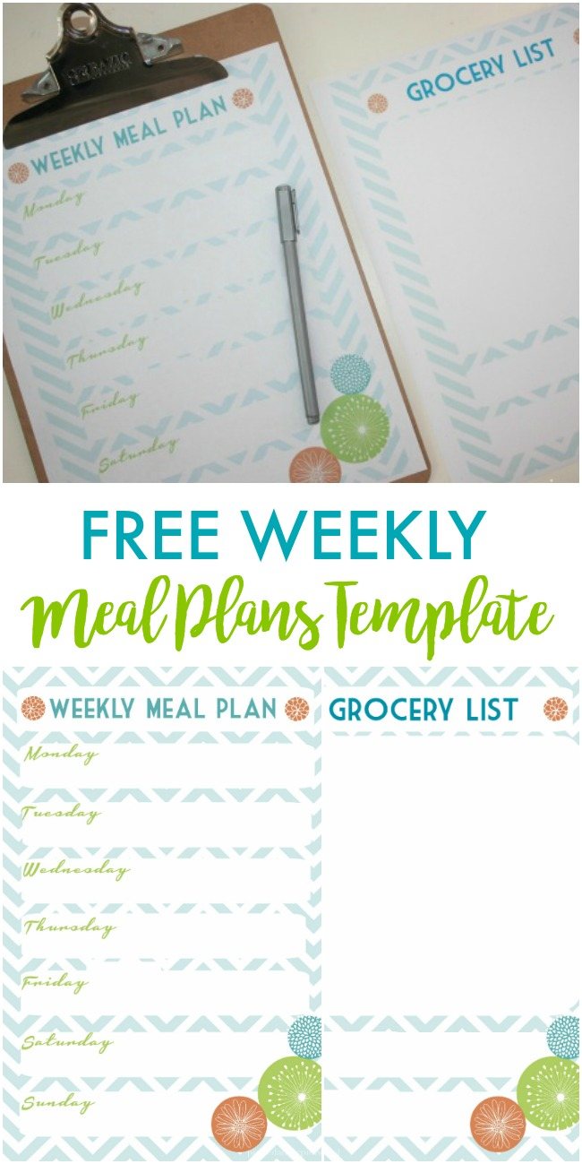 Free Weekly Meal Plans Template