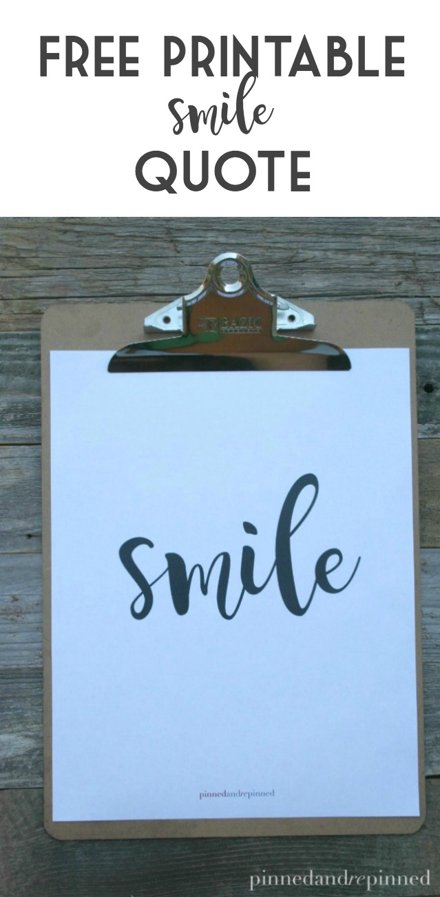 photo relating to Printable Smile named Absolutely free Printable SMILE Estimate - Pinned and Repinned