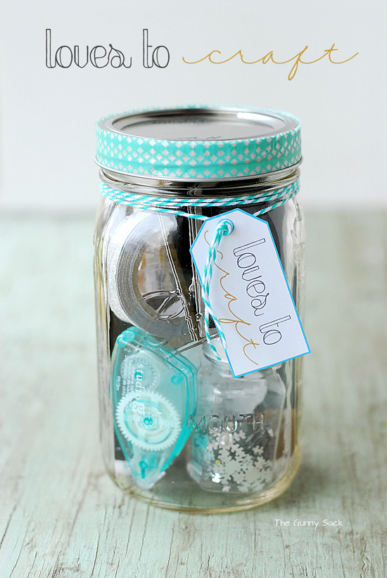 loves to craft gift in a jar
