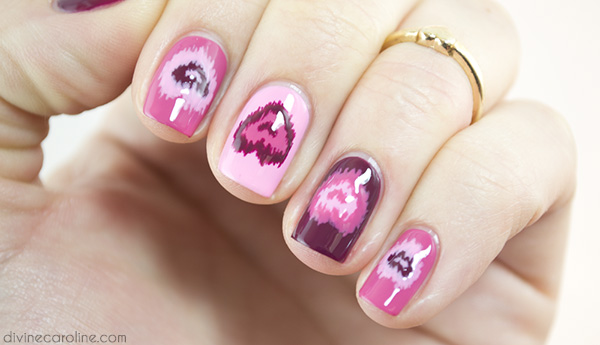 Ikat Heart Nails